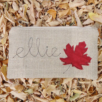 Fall Foliage Personalized Burlap Zipper Clutch - Autumn Pouch Red Maple Leaf