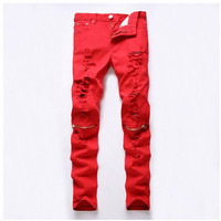 Men's Active Hole Red Biker Fashion Zipper Pencil Pants Ripped Denim Night Club Casual Slim Skinny Jeans
