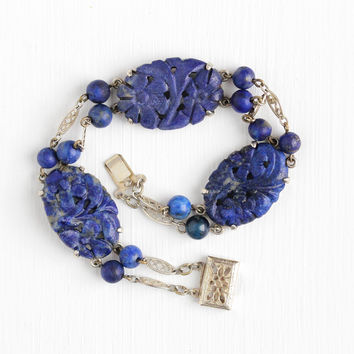 Vintage Art Deco Sterling Silver Carved Lapis Lazuli Flower Panel Bracelet - Art Deco 1930s Filigree Dark Blue Gem Beads Statement Jewelry
