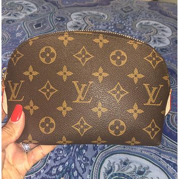 Louis Vuitton LV New Fashion Monogram Print ZipperToiletry Cosmetic Bag Handbag Women Purse Wallet