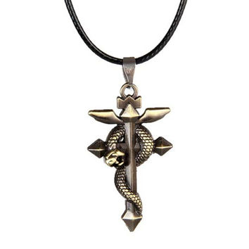 Religious Necklace - New Arrival  Retro Personality Winding Snake Cross Leather Cord Clavicle Men Necklace #1516381