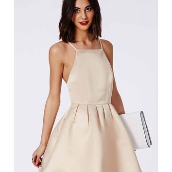 Missguided - Satin High Neck Box Pleat Skater Dress Champagne