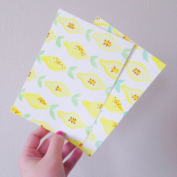 Lemon print watercolor card / fruit watercolor post card (pack of 4) / fruit stationery