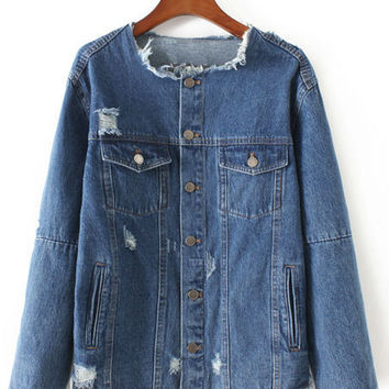 Dark Blue Fringe Trim Patch Embroidery Denim Jacket With Button