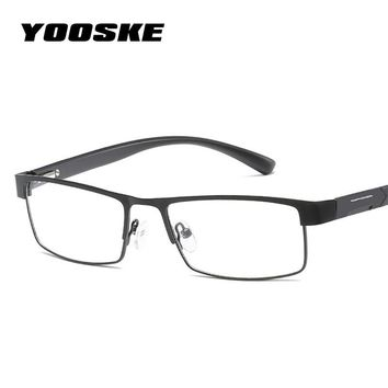 YOOSKE Non spherical lens Reading Glasses Men Titanium alloy Presbyopia Eyeglasses with diopters Hyperopia Prescription Eyewear