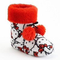 Hello Kitty Plush Bootie Slippers - Girls (White)