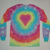 Double Sided Heart - Long Sleeved Tie Dye T-Shirt - Any Size & Color Combination Available