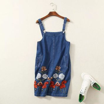A sent 55 fashion wind heavy denim straps embroidered dress 1210