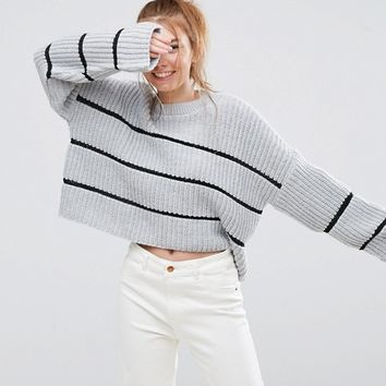 ASOS Chunky Jumper With Contast Ladder Stitch at asos.com