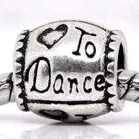 """Love to Dance"" Heart Charm Bead For Snake Chain Charm Bracelet"