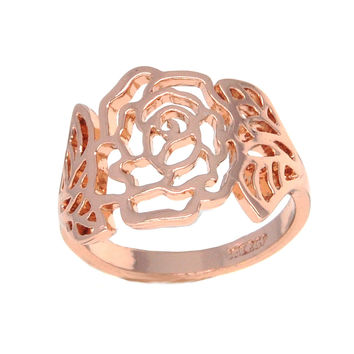 Dear Deer Rose Gold Floral Filigree Cocktail Ring