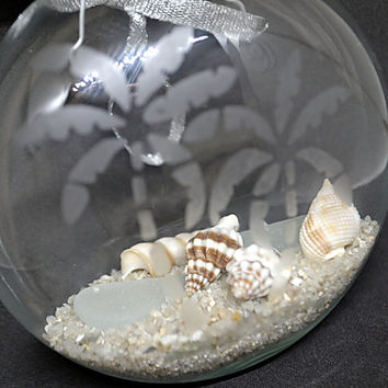 Etched Glass Beach Ornament, Coastal Christmas, Etched Glass Ornament, Nautical Ornament, Seashell Ornament, Sea Glass Ornament