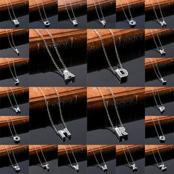 Gift New Arrival Shiny Stylish Jewelry Alphabet Hot Sale Alloy Diamonds Simple Design Ladies Necklace [11667672335]