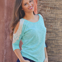 Kissed With Bliss Top - Mint open shoulder crochet details