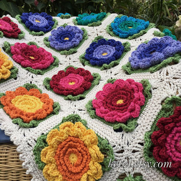 Crochet Pattern Baby Blanket Afghan Instant Download Big Bright Happy Flowers for pram or cot
