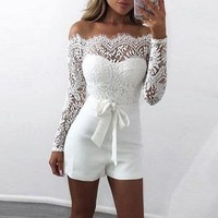 NIBESSER 2018 Off Shoulder Lace Rompers Women New Summer Patchwork Female White Sexy Jumpsuits Women Overalls Bodysuit Playsuit