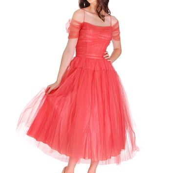 Vintage 1950s Prom Gown Tulle & Satin Coral Colored Small Tea Length 34-27-FREE