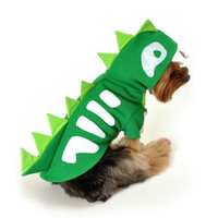 Green Skeleton Dinosaur Dog Costume - Small