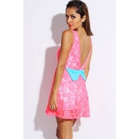 neon pink lace bow tie backless A line retro skater cocktail dress