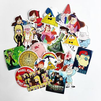 25Pcs/lot Funny Gravity Falls Stickers Decal For Snowboard Laptop Luggage Car Fridge Car- Styling Vinyl Home Decor Pegatina