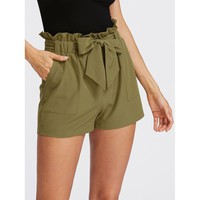 Self Tie Ruffle Waist Shorts Army Green