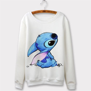 Elephant 2016 Casual Cartoon Animal Print Sport Suit Women Hoodies Long Sleeve O-Neck White Sweatshirt Poleron mujer Sudaderas