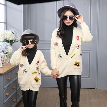 2017 Spring Family Matching Outfits Long Sleeve Mommy And Me Clothes Girls Sweater Cotton Crochet Knit Women Sweater Cardigan
