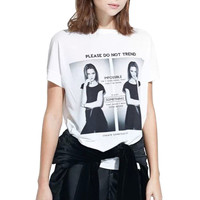 White Duet Beauty Print Short Sleeve Graphic Tee