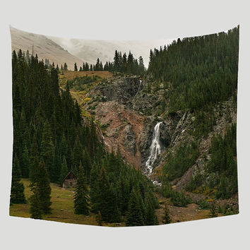 Cabin and Waterfall Colorado Wall Tapestry, Mountains Wall Tapestry, Colorado Decor, Landscape Tapestry, Large Wall Art, Rustic Cabin Decor