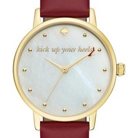 kate spade new york 'metro - stiletto' round leather strap watch, 34mm | Nordstrom