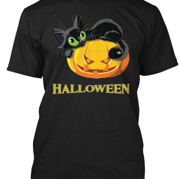 HALLOWEEN PUMPKIN AND CAT - HALLOWEEN T SHIRT