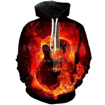 Flames Guitar On Fire - Guitarists Unisex Hoodie - All Over Print Sweater