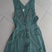 WOMENS Vintage 90s Deep V  Romper/ Deep V SLEEVELESS ROMPER/  Hunter Green Grunge Jumpsuit Playsuit shorts Dress