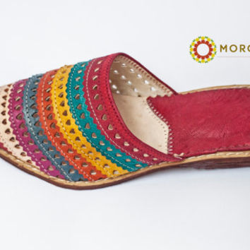 Moroccan Red Women Slippers Genuine Leather