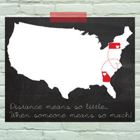 Personalized USA art print map long distance friendship or love