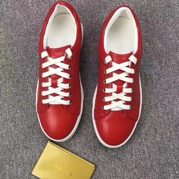 GUCCI Women Trending Fashion Leather Casual Sneakers Sports Shoes Red