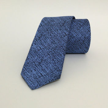 "Blue Skinny Tie 2.36"" (6 cm) Blue spotted tie - Blue spotted necktie - Blue spotted cravat - DK657"