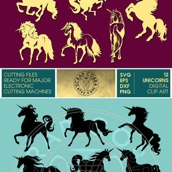 Unicorn Clip Art - SVG, eps, dxf, PNG Horse Cut Files - Digital Downloads for e-cutting machines, Silhouette Studio, Cricuit, SCAL - cv-395