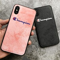 Champion New fashion letter leather couple protective case phone case