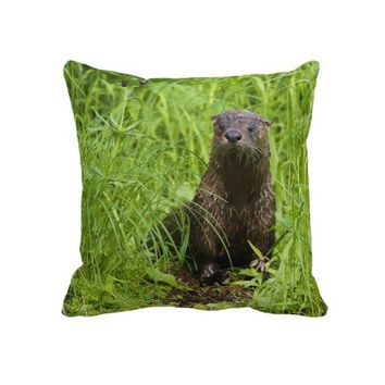 Clever River Otter Pillow from Zazzle.com