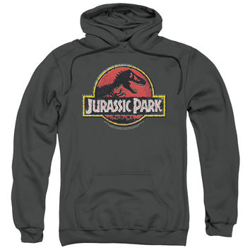 JURASSIC PARK/STONE LOGO-ADULT PULL-OVER HOODIE-CHARCOAL