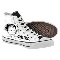 ONE PIECE Shoes,High Top,canvas shoes,Painted Shoes,Special Christmas Gift,Birthday gift,Men Shoes,Women Shoes
