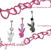 NEW STYLE Playboy Bunny Dangle Navel Belly Ring 14g
