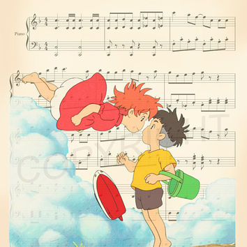 Ponyo Sheet Music Art Print