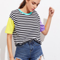 Contrast Neck And Sleeve Striped Tee from Love - W/O - Disdain