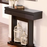 Modern Console Table With Single Drawer Cappuccino Finish Living Room Furniture