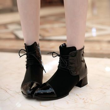 Patchwork Lace Up Pointed Toe Low Chunky Heels Short Boots