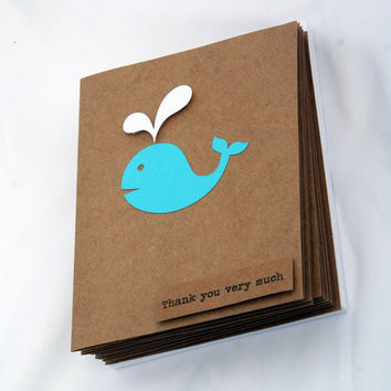 Baby Shower Thank You Cards - Baby Boy Thank You Cards - Kraft Thank You Cards - Thank You Card Set - Aqua Whale Thank You Cards - 50