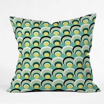 Raven Jumpo Blue Green Scallops Throw Pillow