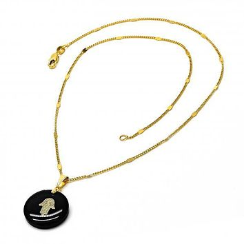 Gold Layered 04.09.0017.18 Fancy Necklace, Hand of God Design, Black Resin Finish, Golden Tone